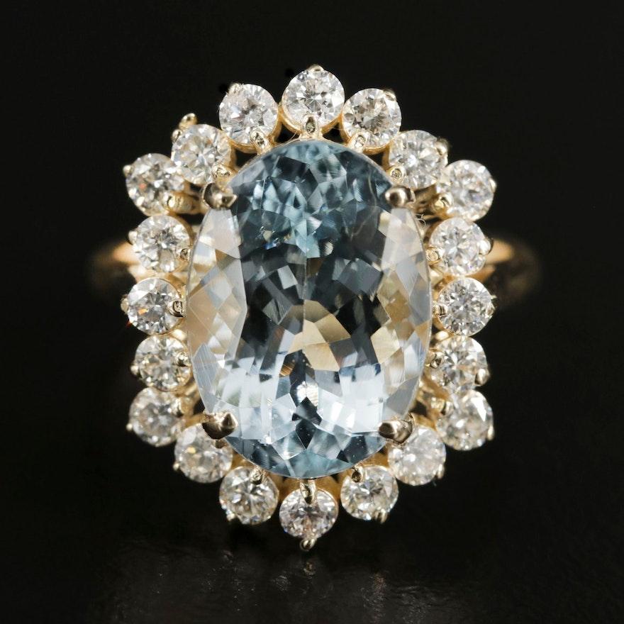 14K Gold 5.89 CT Aquamarine and 1.00 CTW Diamond Ring