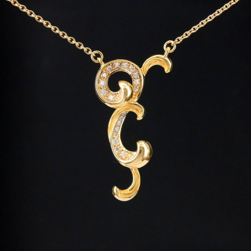 Carrera Y Carrera 18K Gold Diamond Scroll Pendant Necklace