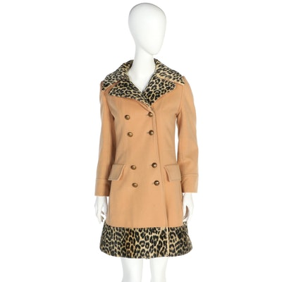 The Vogue Double-Breasted Wool and Faux Leopard Fur Coat, Vintage