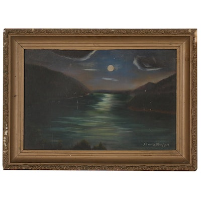 Alma Wright Landscape Oil Painting of Nocturnal River Scene