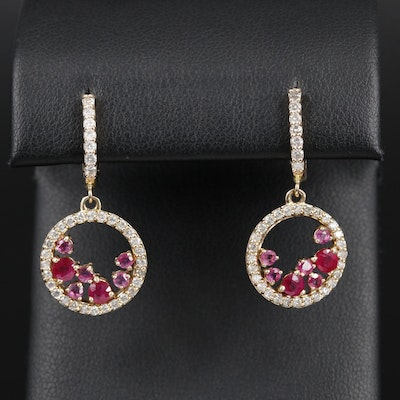 14K Yellow Gold Ruby and Diamond Drop Earrings