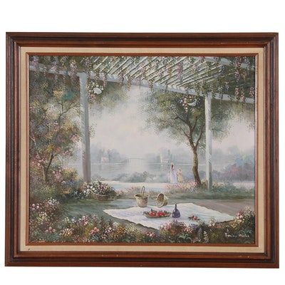 Francisco Bertea Oil Painting of Picnic at River's Edge