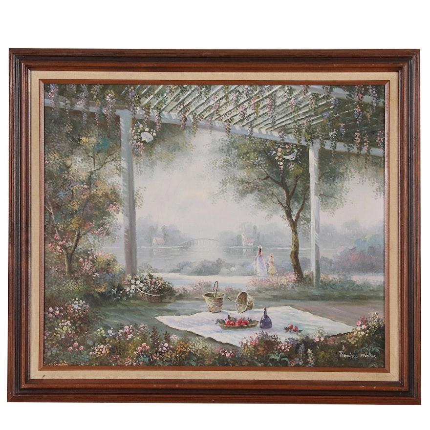 Francisco Bertea Oil Painting of Picnic at River's Edge