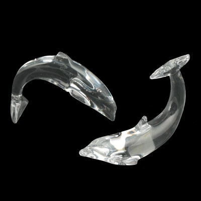 """Baccarat Crystal """"Diving Dolphin"""" and """"Dolphin Swimming"""" Figurines"""