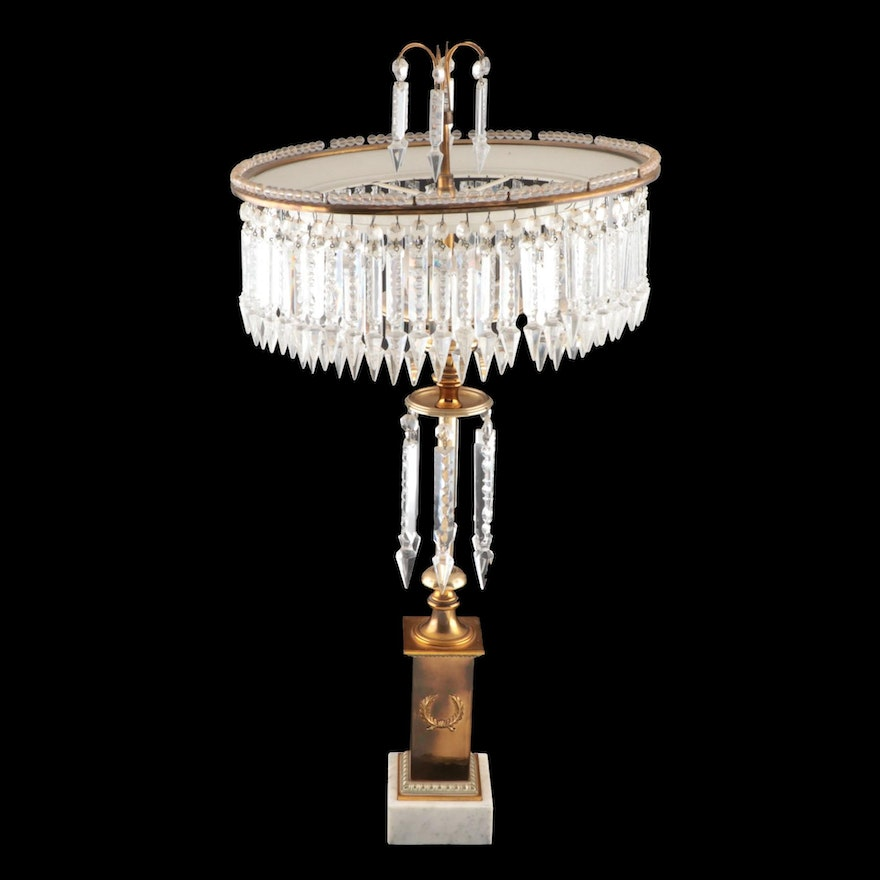 Chandelier Style Glass Prism Four-Light Table Lamp, Mid to Late 20th C.