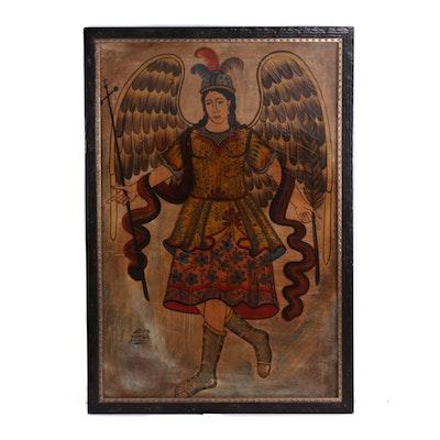 Juan Miguel Jaimes Cuzco School Oil Painting of Archangel Michael