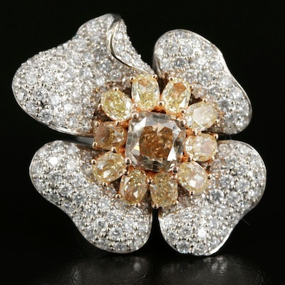 18K 11.08 CTW Pavé Diamond Flower Ring with 14K Shank