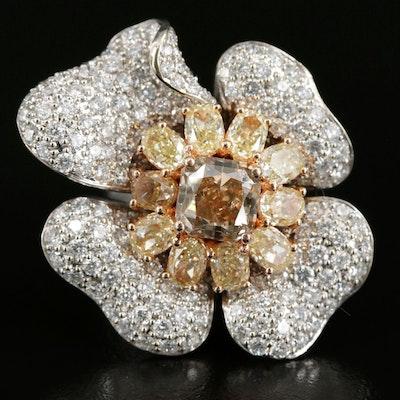 18K 11.08 CTW Pavé Diamond Flower Ring with 14K Shank