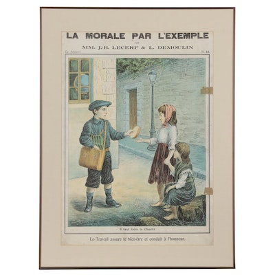 "French Teaching Lithograph ""La Morale Par L'Exemple"", Early 20th Century"