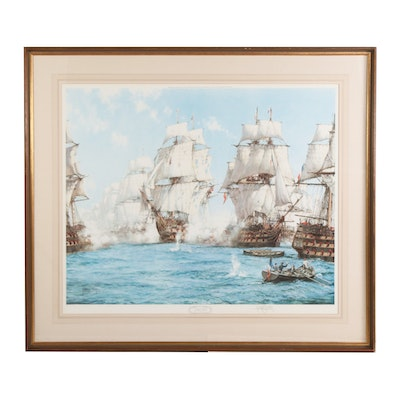 "Montague Dawson Offset Lithograph ""The Battle of Trafalgar"", 1972"