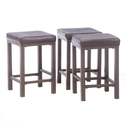 Three Metal and Faux-Leather Counter-Height Bar Stools