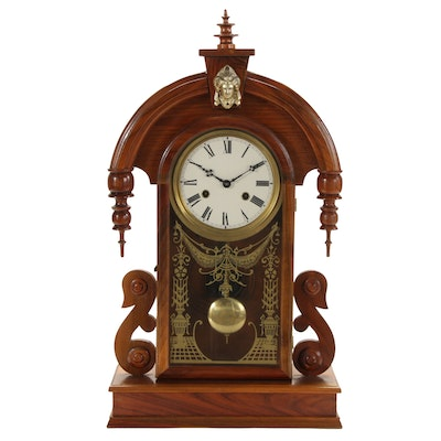 Victorian Style Tear Drop Design Walnut Mantel Clock