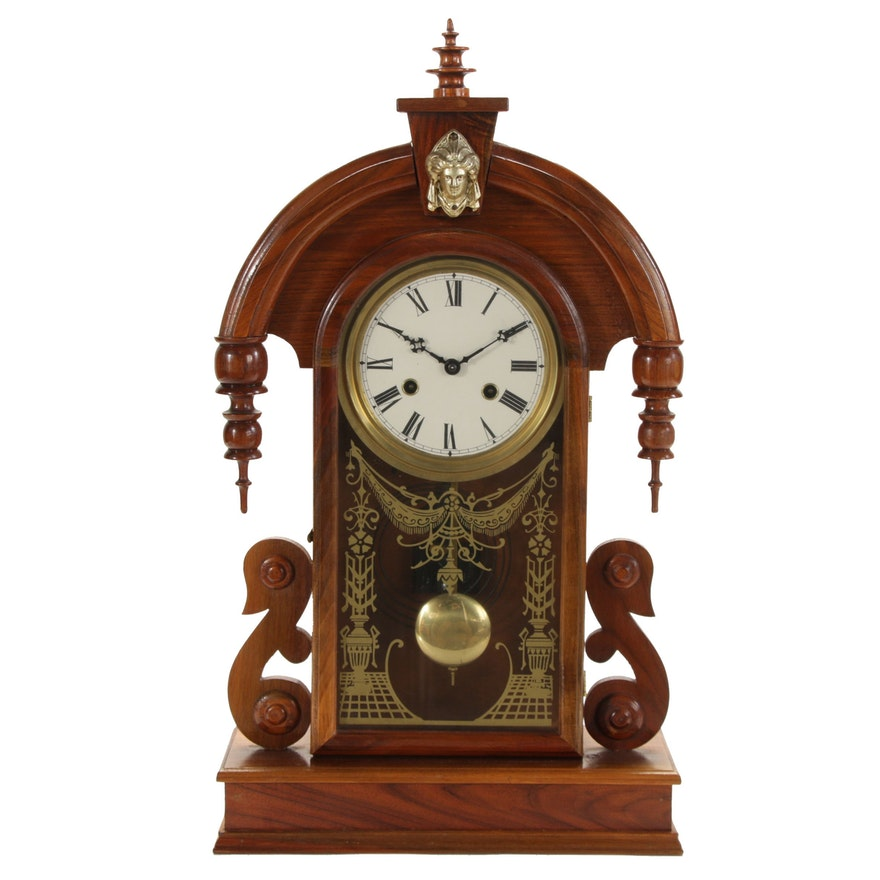 Victorian Style Tear Drop Design Walnut Mantel Clock