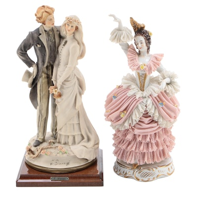 Giuseppe Armani Composite Figurine with German Porcelain Figurine