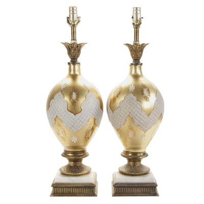 Pair of Falkenstein Style Glass Table Lamps, Mid-20th Century