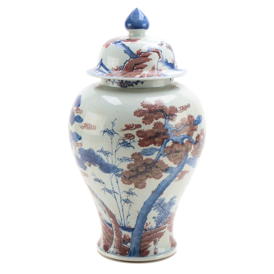 Chinese Porcelain Temple Urn with Flowering Tree Motif