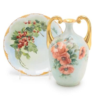 Rosenthal Porcelain Plate with Bavarian Porcelain Amphora Style Vase