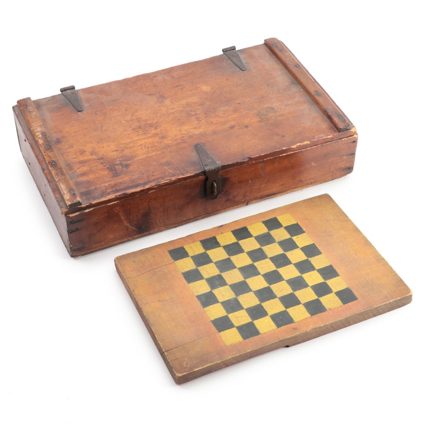 Primitive Poplar Box and Painted Gameboard, Late 19th Century