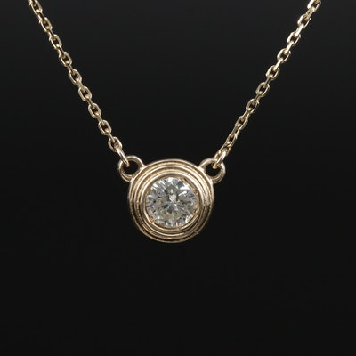 14K Yellow Gold 0.43 CT Diamond Solitaire Pendant Necklace