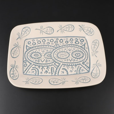 "Dan Dutton Rookwood Pottery Earthenware ""Winking Owl"" Platter, 2013"