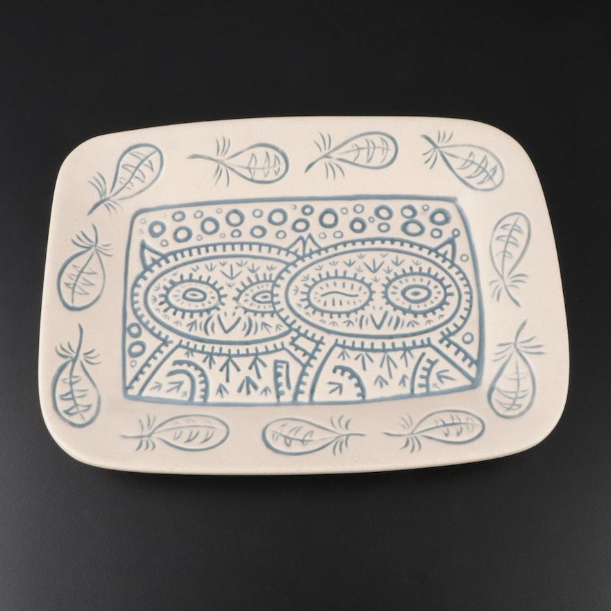 """Dan Dutton Rookwood Pottery Earthenware """"Winking Owl"""" Platter, 2013"""