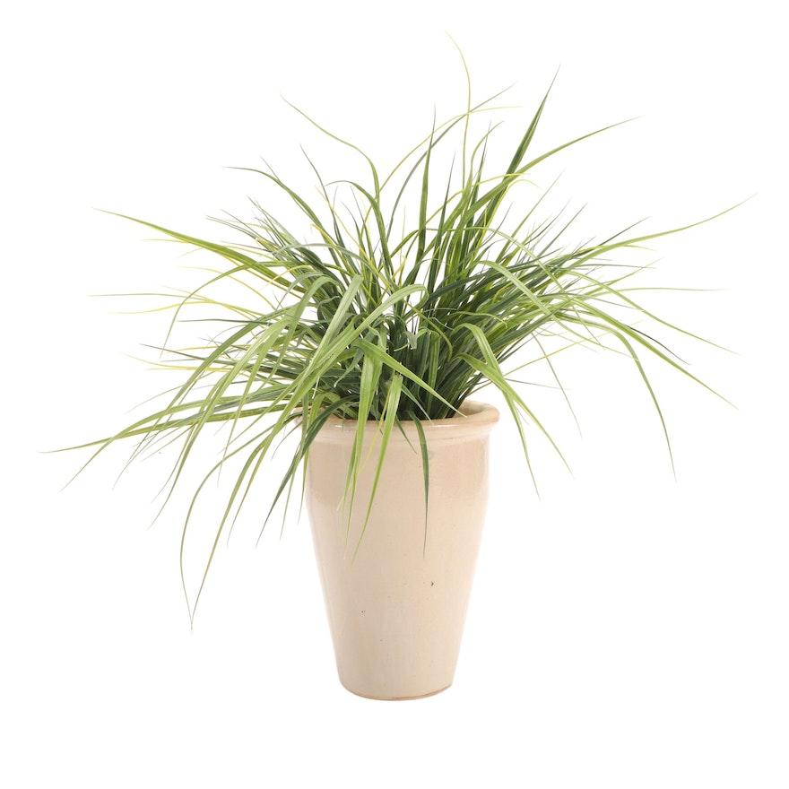 Ceramic Vase with Artificial Grasses