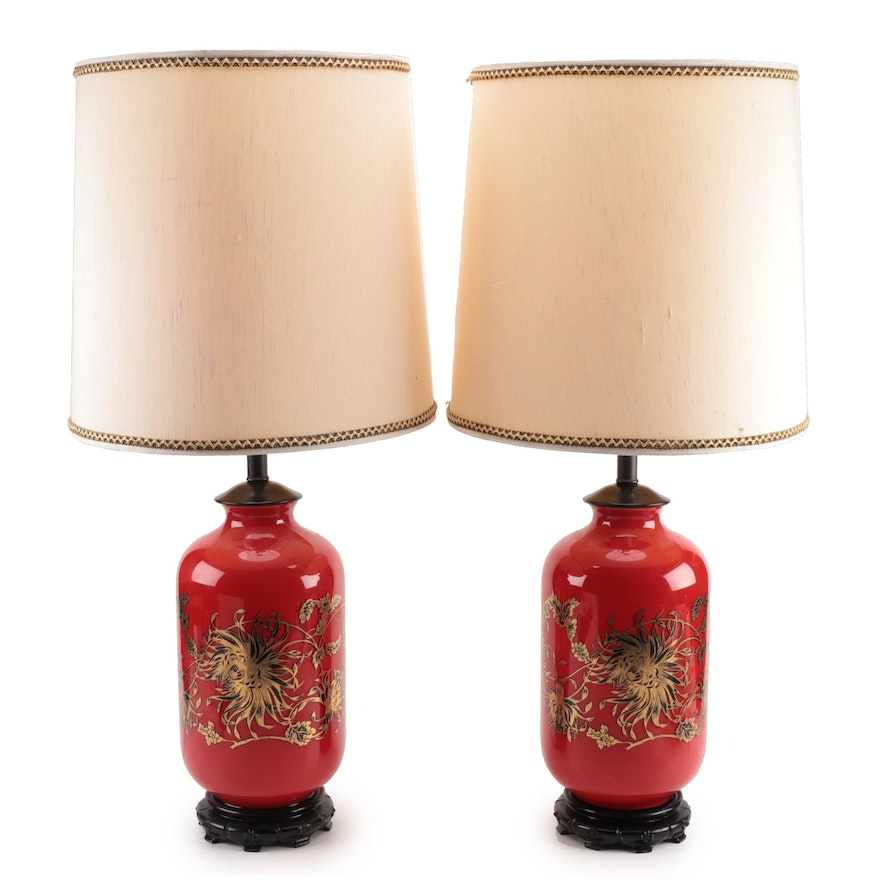 Pair of Glass and Ebonized Wood Table Lamps, Mid-20th Century