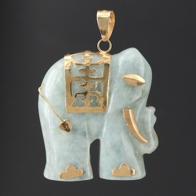 14K Yellow Gold Carved Jadeite Elephant Pendant