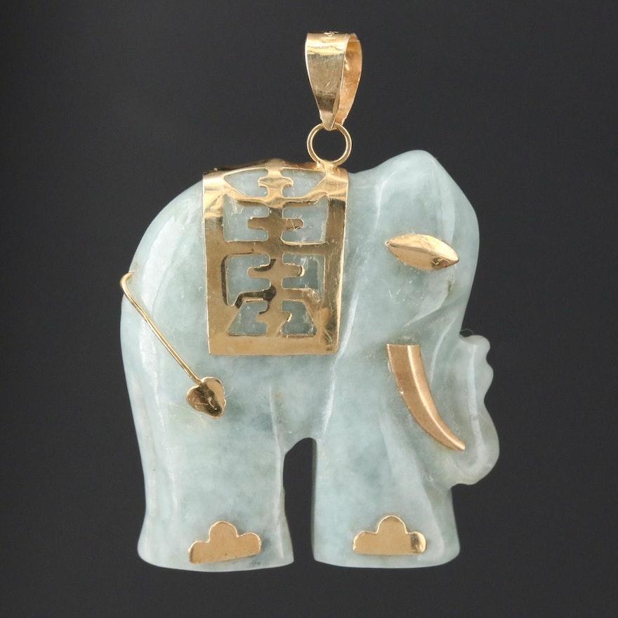 14K Yellow Gold Carved Jadeite Elephant Pendant