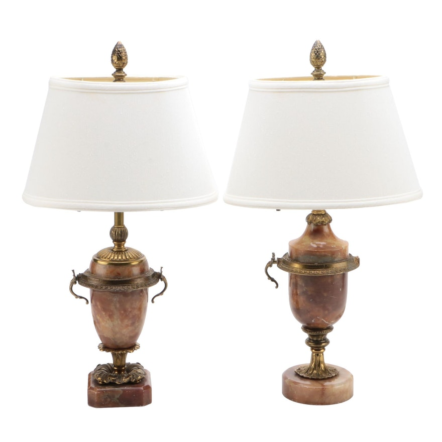 Two Neoclassical Style Alabaster Table Lamps, Early to Mid 20th Century