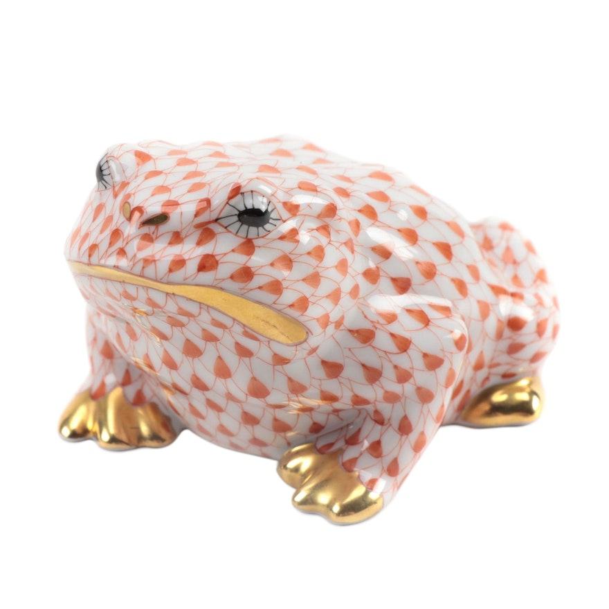 "Herend Rust Fishnet with Gold ""Frog"" Porcelain Figurine, August 1996"