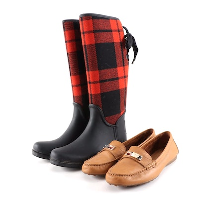 Coach Tristee Buffalo Plaid Lace-Up Rain Boots and Tan Pebbled Leather Loafers