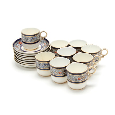 Royal Worcester Porcelain Cups and Saucers, Late 19th Century