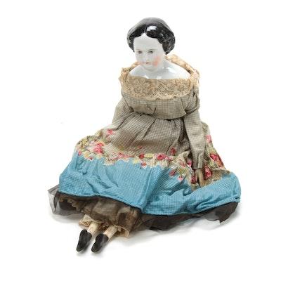 Japanese Porcelain Doll with Floral Dress, Vintage