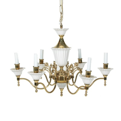 Porcelain and Brass Six-Light Chandelier