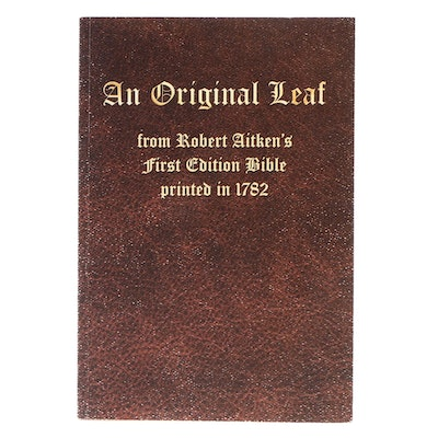 """Book of Job Leaf from 1782 First American Printing of """"The Aitken's Bible"""""""