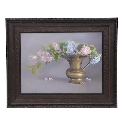 Still Life Oil Painting with Hydrangeas and Brass Pitcher