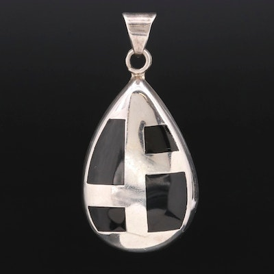 Mexican Sterling Silver Enamel Inlay Pendant