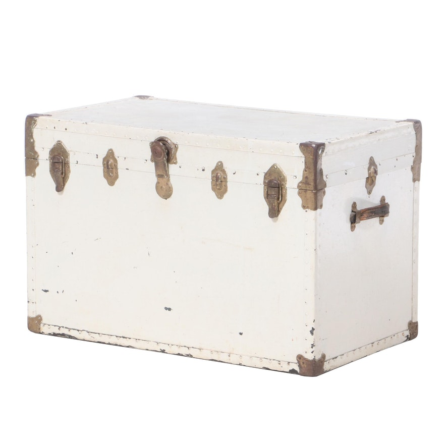 White-Painted Metal Steamer Trunk