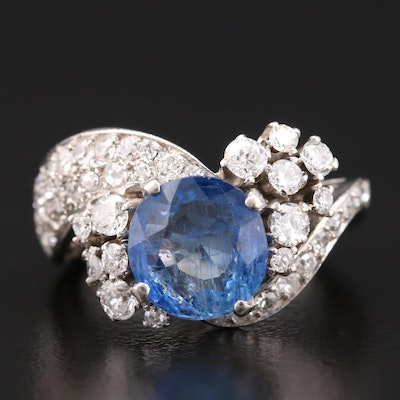 Platinum Burmese Unheated 3.40 CT Sapphire and Diamond Ring with GIA Report