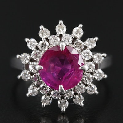 Platinum 1.65 CT Ruby and Diamond Ring with GIA Report