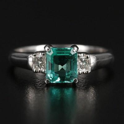 Platinum 0.75 CT Emerald and Diamond Ring