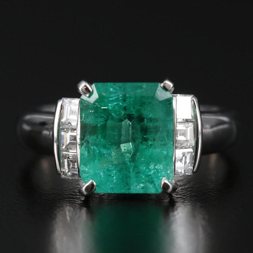 Platinum 2.95 CT Emerald and Diamond Ring