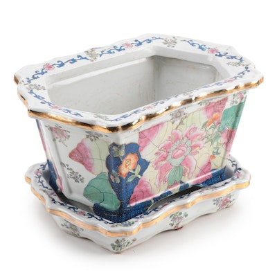 Chinese Porcelain Footbath Planter with Drip Plate