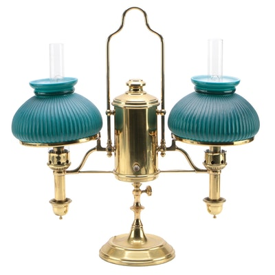 Post & Co. Electrified Double Student Lamp with Cased Glass Shades, 1877-84