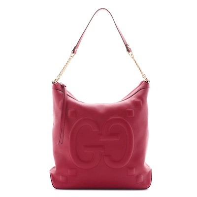 Gucci GucciGhost Embossed Red Leather Chain Hobo Bag