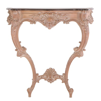 Rococo Style Painted Wood Wall Mount Demilune Table