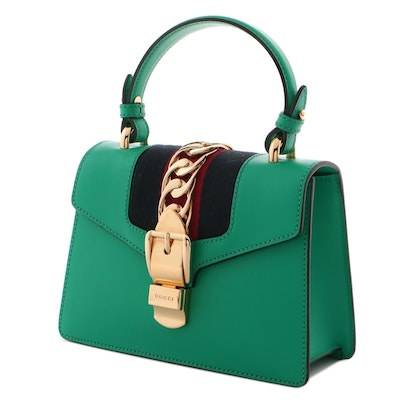Gucci Green Leather Sylvie Mini Bag