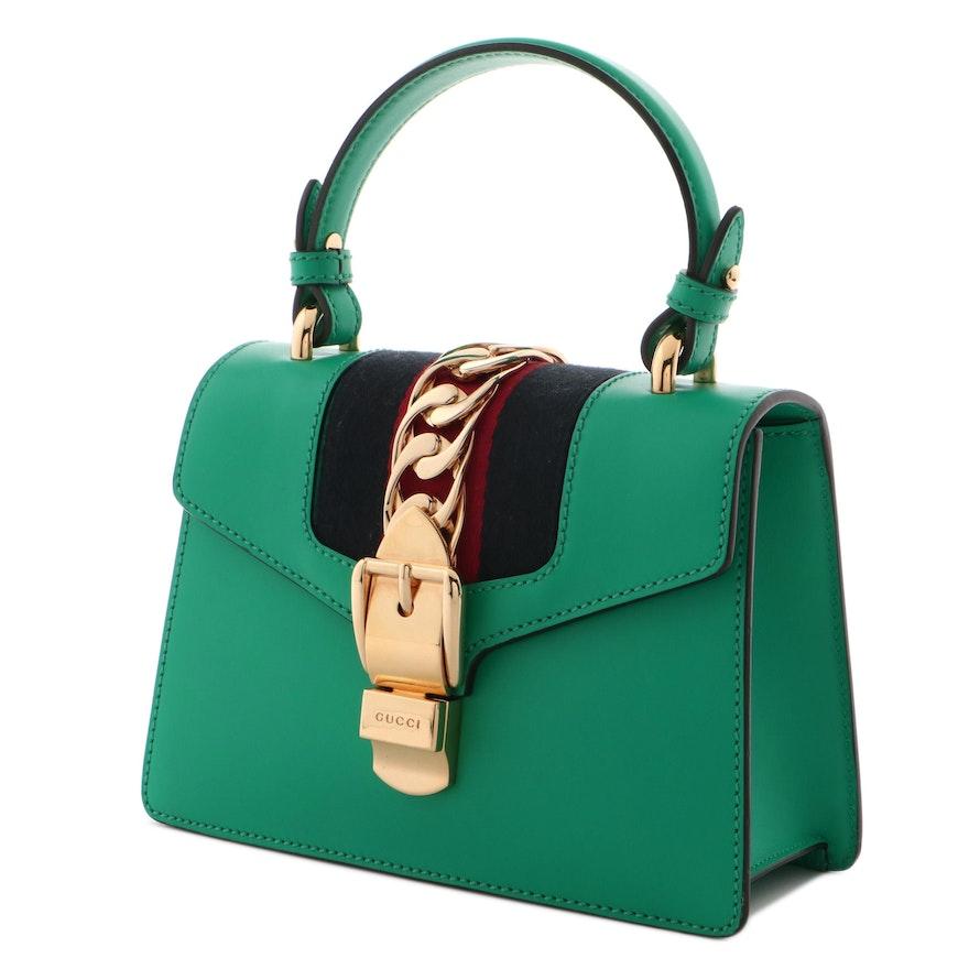 Gucci Green Leather Sylvie Mini Bag