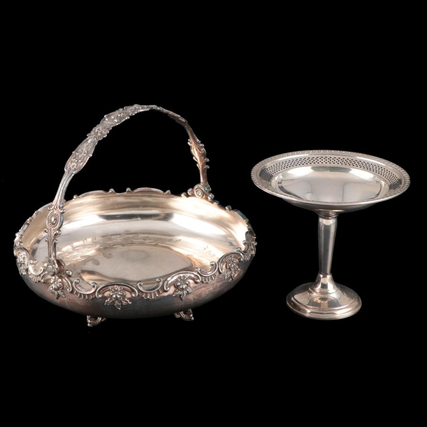 Elgin Silversmith Co. Weighted Sterling Compote with Handled Silver Plate Bowl